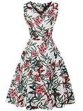 FAIRY COUPLE 1950S Vintage Rockabilly Lunares Vestido de Baile DRT072(4XL,Hojas de flores bl...