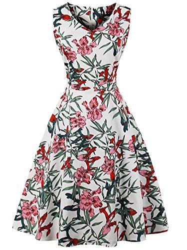 FAIRY COUPLE 50er V-Ausschnitt Rockabilly Polka Blumen Jahrgang Kleid Cocktail DRT072(S,Weiße Blumenblätter) (Kleid Anlass Besonderen Blume)