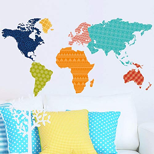 BZQTHXK Colorful World Map Wall Stickers for Living Room Kid's Room Nursery Background Decor Art Wall Decals Eco-Friendly Wallpaper