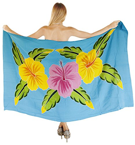 La Leela Hand malen Bikini Strandrock Sarong 78x43 Zoll glätten Rayon vertuschen Türkisblau