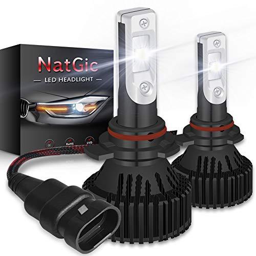 NATGIC 9012 HIR2 Led Kit de conversion pour ampoules de phares Ampoules à LED super brillantes 16000LM 16 puces XHP50 Blanc pur 6500K étanche, DC 9-32V, Garantie de 2 ans (pack de 2)