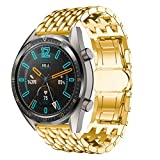 POJIETT Correas para Huawei Watch GT Reloj Pulsera Actividad Inteligente Watch Band Repuesto de Correa de Reemplazo de Acero Inoxidable Wristband Reloj Banda Deportiva Watch Strap 22mm (Negro/Dorado)