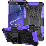 Sony Xperia Z2 Funda, SsHhUu Heavy Duty Amortiguamiento Cubrir Doble Capa Combinación de Armadura con Soporte Protector Cubrir Cover para Sony Xperia Z2 5.2 pulgada (Púrpura)