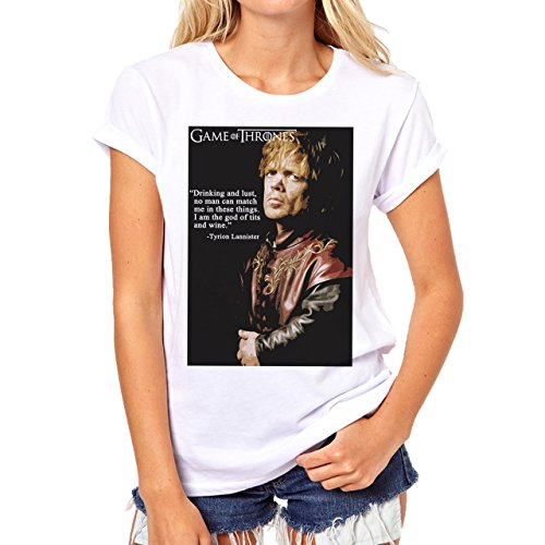 Tyrion Lannister Game of Thrones Drinking And Lust Background Damen T-Shirt Weiß