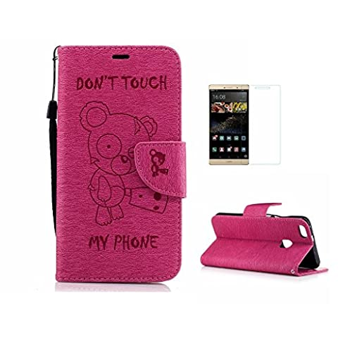 Case For Huawei P10 Lite [With Tempered Glass Screen Protector],Fatcatparadise(TM) Anti Scratch Flip Soft Silicone Back Cover Case ,Elegant Vintage Pressed Cute Bear Pattern Design Flip Magnetic Premium PU Leather Credit Card Folio Holder [with Lanyard Strap/Rope] Wallet Case For Huawei P10 Lite