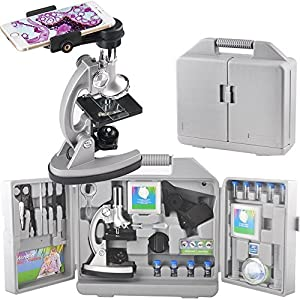 Gosky Kids Microscope Set with Metal Arm and Base, 300 x 600x 1200x Magnifications, Includes 70pcs+ Accessory Set and Handy Storage Case- With Smartphone Adapter