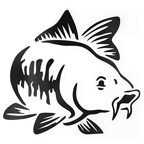 TiooDre 15 * 15 cm Pesca de la Carpa del Coche Vinilo de la Etiqueta engomada del Arte Kayak Pesca del Coche del Carro del Barco Tribal Etiqueta engomada del Coche Accesorios-Negro