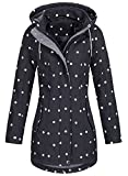 Top Fuel Fashion Damen Softshelljacke Ivana Funktions Kurzmantel abnehmbare Kapuze wasserabweisend black fond/white S