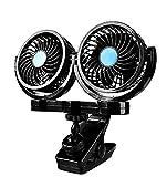 JINGBO 12V Auto Lüfter Kfz Ventilator Doppellüfter- Entfernt effektiv Schlechten Geruch und Geruch - Für Sedan SUV RV Boot Auto Fahrzeuge