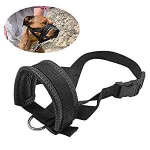 Galaxer Muselière Boucle en nylon Matériau Heavy Duty Muselière pour chien avec taille réglable et flanelle de protection souple et flexible à travers Plus de rembourrage doux pour la marche et de formation