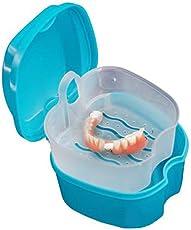 Dental False Teeth Storage Box with Hanging Net Container PP Denture Bath Box Case by Leoie