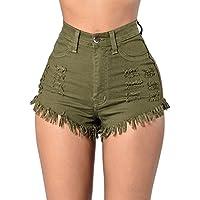 42a071f2cc1d LAEMILIA Damen Jeans Hot Pants Quaste Destoryed Zerrissen Hohe Taille  Sommer Minijeans Kurz Hosen