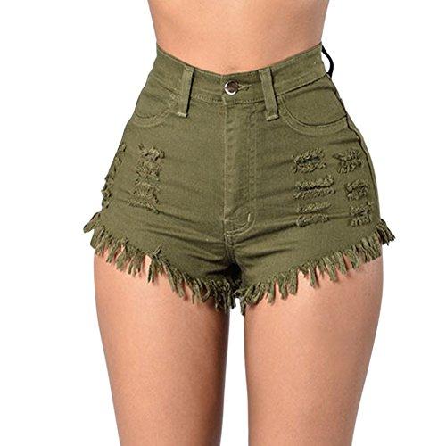 LAEMILIA Damen Jeans Hot Pants Quaste Destoryed Zerrissen Hohe Taille Sommer Minijeans Kurz Hosen