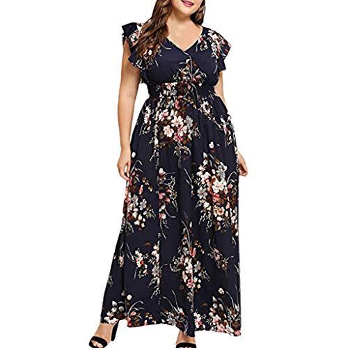 Clacce Strandkleid Sommerkleid Damen Frauen Plus Size V-Ausschnitt Blumendruck Kurzarm Boho Kleid Party Maxi Kleid Partykleid Cocktailkleid -