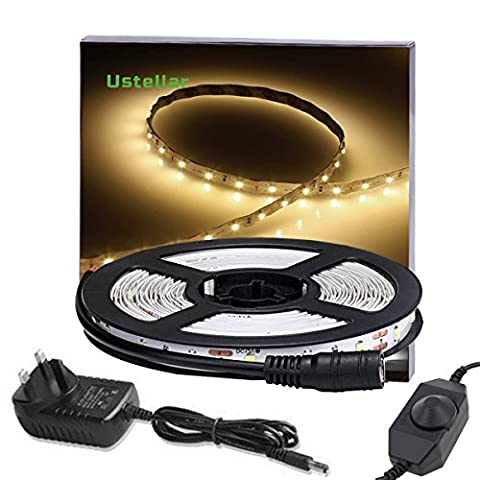 Ustellar Dimmable LED Strip Lights, LED Strip Lighting Kit, 300 Units SMD 2835 LEDs, 5m 12V LED Tape, Non-waterproof, 3000K Warm White LED Ribbon with UK Plug for TV Backlight Stairway Home