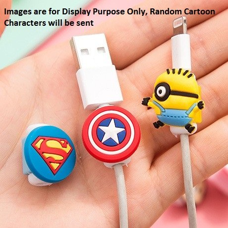 ONLINE MONK Cable Protector Beads with Silicon Made Cartoon/Superhero Shape on Top (Set of 6 Pieces)