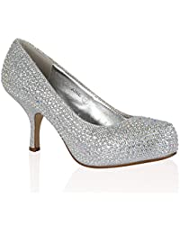 1ec1caec4b2ea CORE COLLECTION New Women's Diamante Encrusted Kitten Heel Prom Party  Ladies Shoes Size 3-8