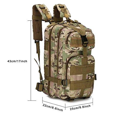 Zaino jian ya na, militare, tattico, da esterno, ideale per escursionismo, trekking, campeggio, combattimento, da uomo, borsa con sistema molle da viaggio da 25l, camouflage