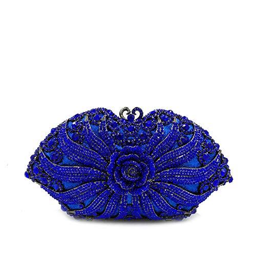 Zhongsufei Umschlag-Art-Beutel-Kupplung Strass Bankett Handtasche Kleid Diamant Bohrer Handtasche Geldbörse Hochzeit Prom Party Box Handtasche (Farbe : Blau)