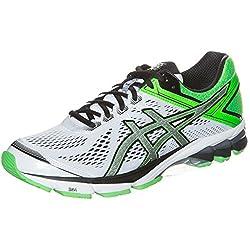 Asics Mens Gt-1000 4 White, Black and Green Mesh Running Shoes - 6 UK