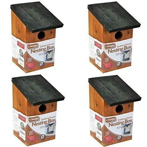 Garden Mile 4x Tradizionale da Giardino in Legno Birdhouse Nido Scatole con Verde Incernierato Tetto per Facile Pulizia Predator Prova a Ospitare Piccolo Uccelli Passeri, Tits Robin Nido