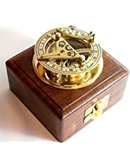 BRASS SUNDIAL COMPASS -Solid Brass Pocket Sundial - West London With Wooden Box by casanova nauticals