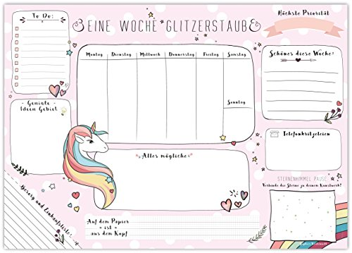Base para escritorio con diseño de unicornio, de Sophies Kartenwelt, papeles brillantes para arrancar, 25 páginas, DIN A3 (42 x 29,7 cm), para niños