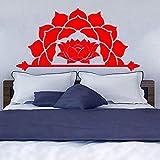guijiumai Wandaufkleber Halbe Mandala Wandtattoo Muster Lotus Blume Vinyl Aufkleber Decals Kopfteil Schlafzimmer Boho Decor Lc1476 5 111 cm x 56 cm