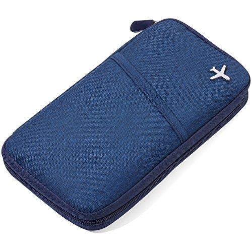 TROIKA Safe Flight - TRV20/DB - Etui für Reisedokumente - mit Ausleseschutzfolie (für RFID-Chips) - Reißverschluss - 12 Innenfächer - Stiftschlaufe - Polyester - dunkelblau/orange