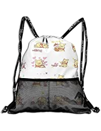 MPJTJGWZ Fashion Bolsa con cordón - Moda Winnie The Pooh Print Gimnasio Mochila Deportiva Bolsa de