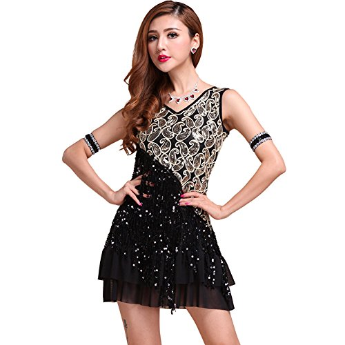 Etopfashion Damen Sequins Tassel Square Latin Rumba Ballroom Tanz Cocktail Party (Kostüme Latino Tanz)