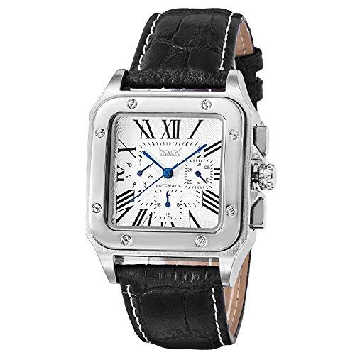 Besten Herren Mechanische Armbanduhr Automatik Silber Schwarz Legierung Zifferblatt Leder Band römischen Ziffern Mehrzweck Luxuriöse Modische