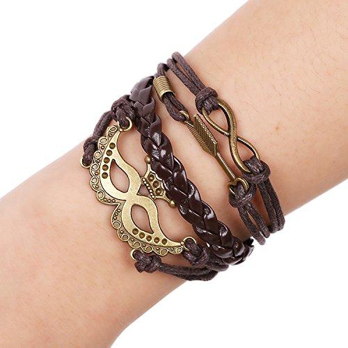 SNHWARE Bracelet Kreis Lederarmband Armband Unisex Multi-Strang Echtlederarmband Infinity Symbol Pfeil Krone (Pfeil-freundschaft-armband)
