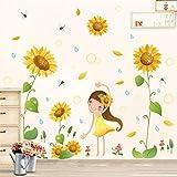 Valentinstag Geschenk Ldyllic Blume Sonnenblume Mädchen Cartoon Wandaufkleber Landhausstil Garten Wohnzimmer Kinderzimmer Grünpflanzen