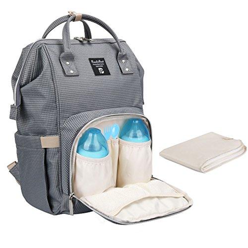 Baby Wickelrucksack Wickeltasche mit Wickelunterlage Multifunktional Oxford Große Kapazität Babyrucksack Kein Formaldehyd Reiserucksack für Unterwegs (Karo Grau)