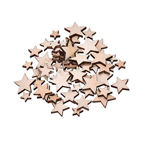 100pcs mini Wood Stars Wooden Mixed Crafts Card making for Scrapbooking Embellishments