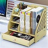 GAELLE Große Kapazität Holz Buchstützen Multifunktionales Büro Desktop Storage Box Datenregal Schule Büro Organisieren (Farbe : C)