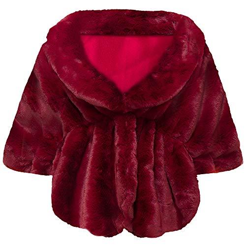 Coucoland Kunst Pelz Schal Damen Flauschig Faux Pelz Umschlagtuch Warm Kragen für Wintermantel 1920s Accessoires Gatsby Kostüm Zubehör (Rote Kostüm Schmuck)
