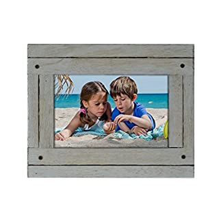 Adeco 4x6 inch Heather Grey Distresssed Wood Decorative Wall Hanging Desktop Tabletop Display Print Picture Photo Frame - Made to Display 4x6 Photo