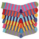 Jungen-Socken mit lustigem Streifen-Design aus Baumwolle, mehrfarbig, 12 Paar Gr. One size, Bunt gestreift