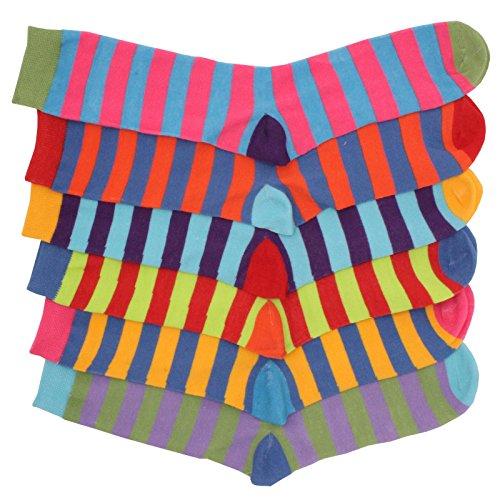 12prs Boys Cotton Rich Funky Multi Colour Stripe Design Socks Back to School Sock School Uniform Shoe Size 9-12
