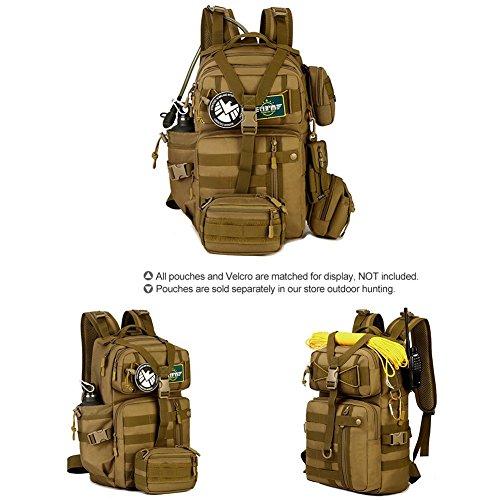 SUNVP 30L Tactical Military MOLLE Assault Rucksack Pack Große Tasche Rucksack Sport Outdoor Gear für Jagd Radfahren Camping mit Hydration Blase Tasche Dark Brown