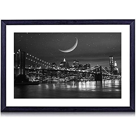 Ponte di Brooklyn–stampa artistica con cornice in legno nero da parete Foto in bianco e nero 50,8x 35,6cm Framed