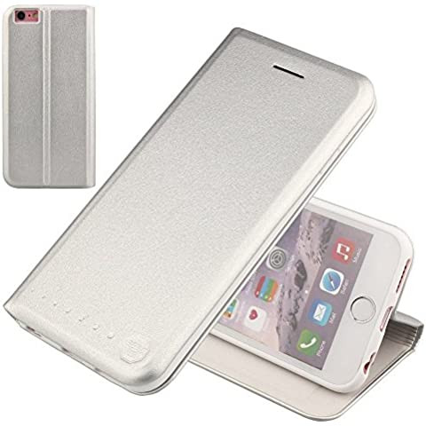 Nouske iPhone 6/6s Funda protectora de tipo Cartera para teléfonos móviles/TPU protección frente a golpes/Estuche para tarjetas de crédito/Soporte/Conciso y Ultra delgado/Hebilla magnética,Plata