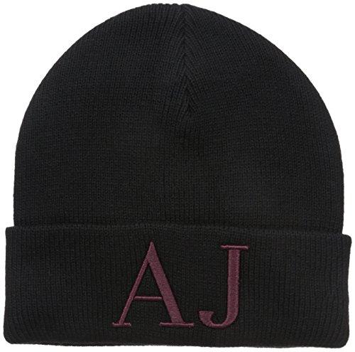 Armani Jeans Men's Wool Blend Knit Aj Hat, Black, One Size