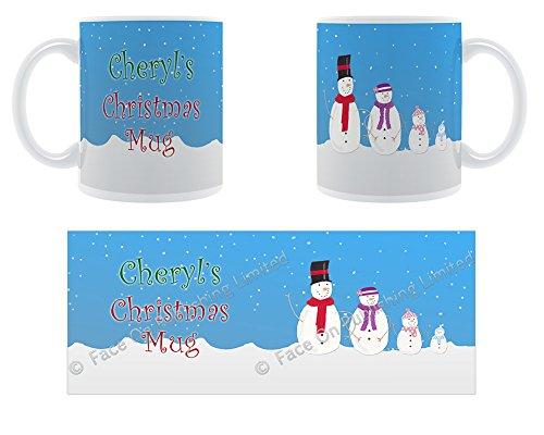 Cheryl's Christmas Tasse, Snowfamily Design, Keramik Tasse mit Dick -