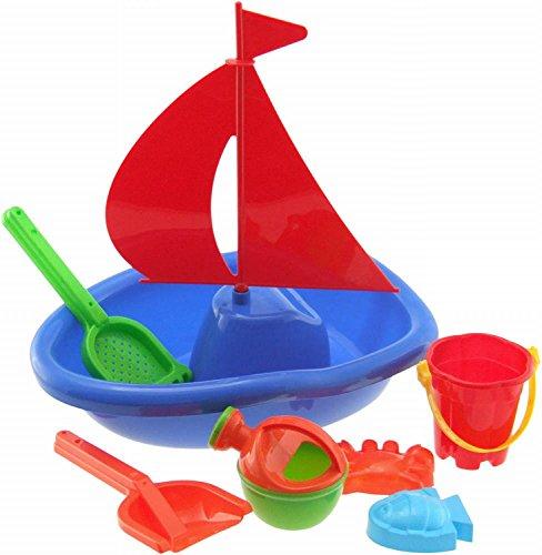 BIECO 06063996 - Set da Spiaggia Barca a Vela, 7-Parte, Multi-colorato