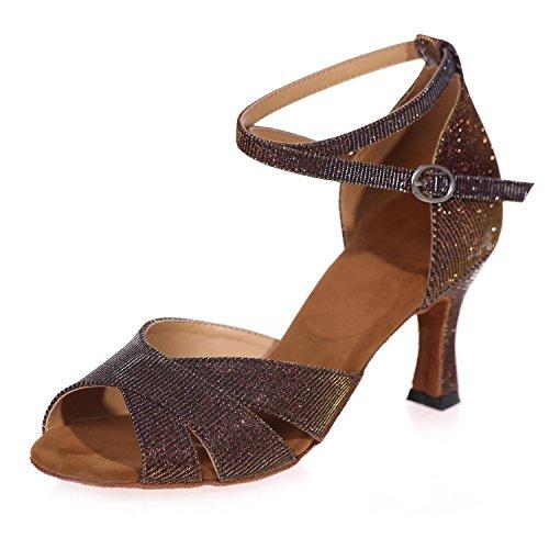 Hot Latin / Professional Mousseux Ballroom Chaussures Pour Femmes Fait Maison Brown