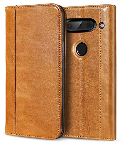 ProCase LG V40 ThinQ Echtes Leder Hülle, ProCase Vintage Geldbörse Falten Flip Case mit Kickstand und mehrere Kartensteckplätze Magnetverschluss Schutzhülle für LG V40 -Braun -