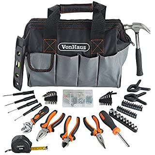 "VonHaus 92Pc Hand Tool Kit with 14"" Heavy Duty Storage Carry Bag Organiser – Ideal Household/Home DIY Repairs – Incl. Bits Driver Pliers Hammer Wrench Hex Keys - 35 x 21 x 26.5cm"